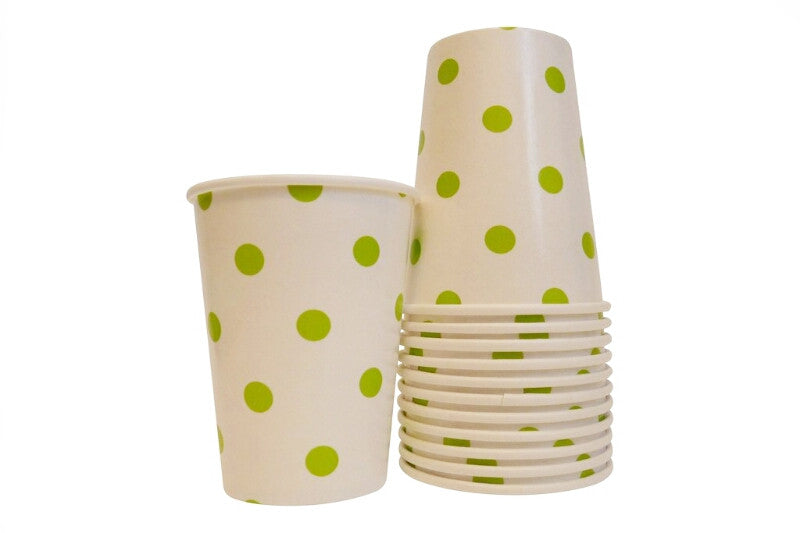 Lime Green Polka Dot Cups