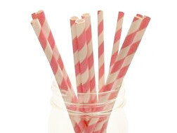 Bubble Gum Pink Striped Straws