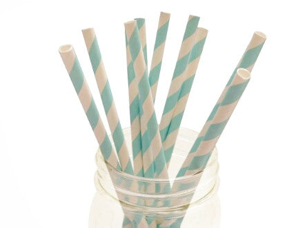 Sky Blue Striped Paper Straws