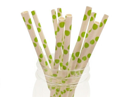 Lime Green and White Paper Straws