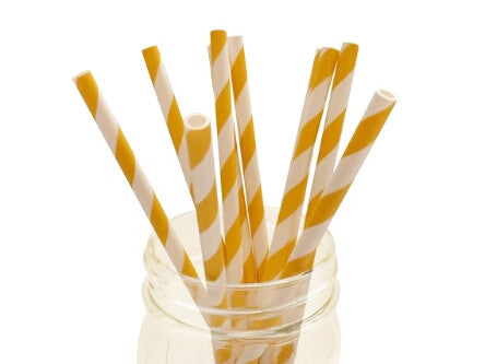 Golden Yellow Striped Paper Straws