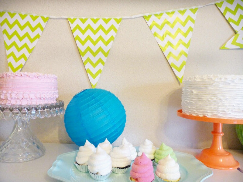 Lime Green Triangle Banners- Striped or Chevron