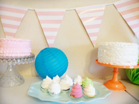 Pink and White Striped Banner for Pink Party Supplies and Decorations