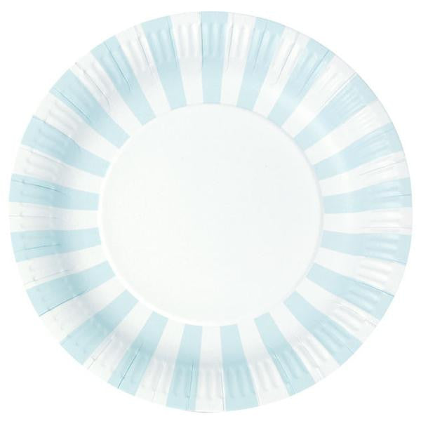Light Blue Striped Plates
