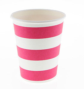 Hot Pink Striped Cups