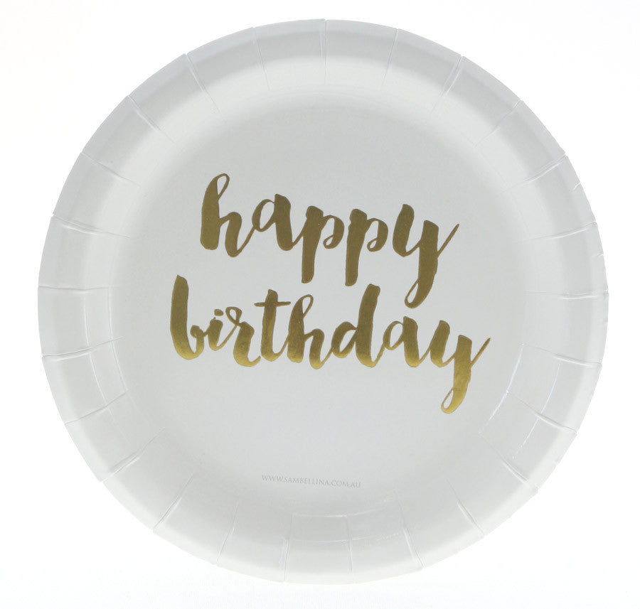 Gold Happy Birthday Plates