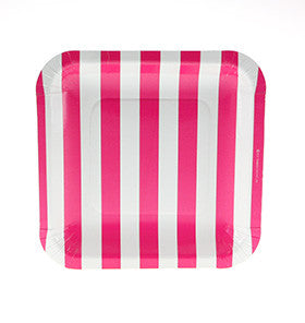 Hot Pink Striped Square Plate