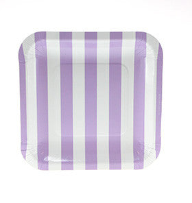Lavender Purple Striped Square Plate