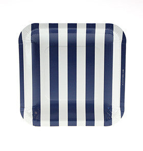 Navy Square Striped Plates