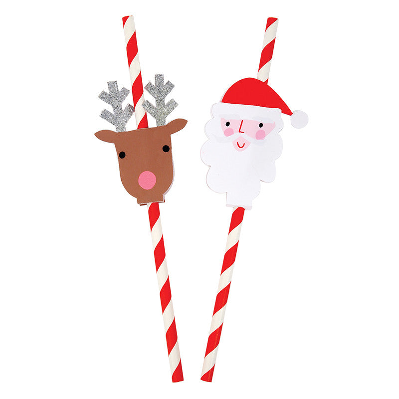 Santa and Reindeer Christmas Red Striped Straws