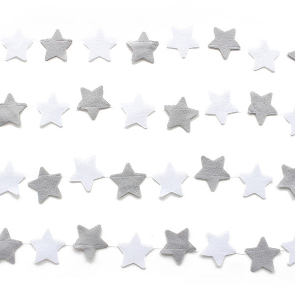 Grey and White Star Banner