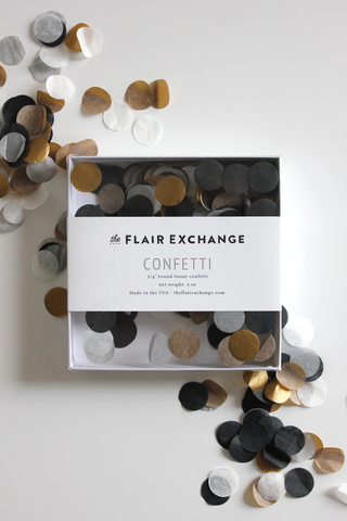Black Gold and Silver Confetti