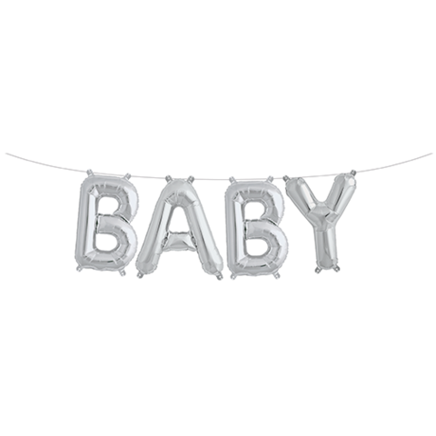 Silver Baby Balloon Banner for a Baby Shower