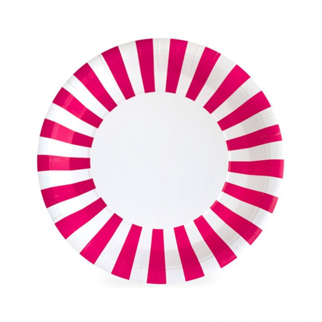 Hot Pink Striped Plates