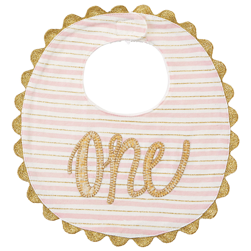 Gold One Bib for First Birthday