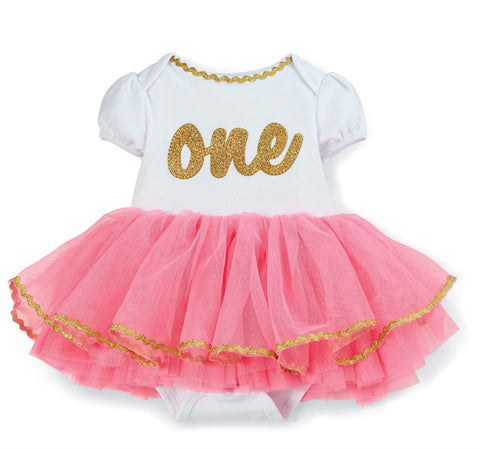 First Birthday Pink and Gold Outift Mud Pie