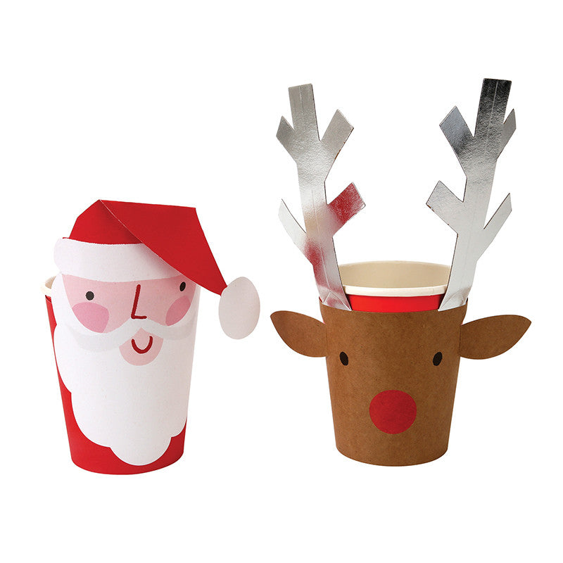 Santa and Reindeer Christmas Cups