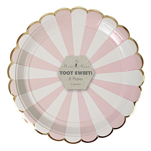 Pink and White Striped Plates with Gold Edge for Princess Party, Tea Party, Valentine's Day Party