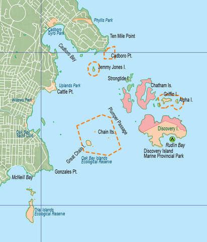 Oak Bay Islands map