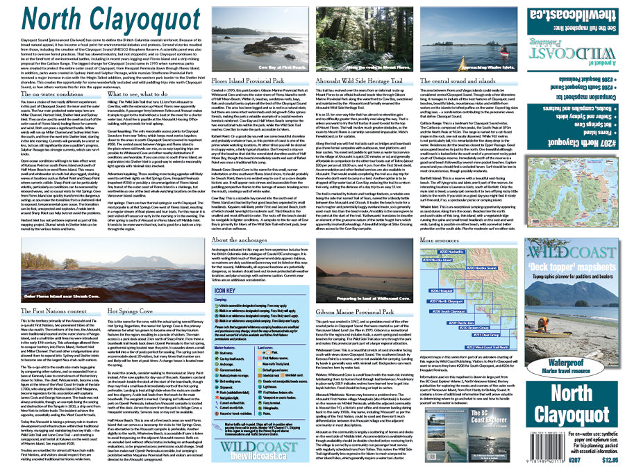 207 North Clayoquot Sound Kayaking and Boating Map