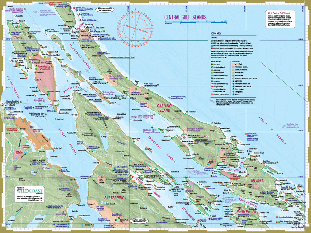 218 Central Gulf Islands Kayaking and Boating Map