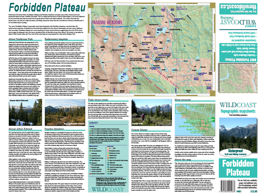 401 - Forbidden Plateau / Strathcona Provincial Park Topographic Trail Map