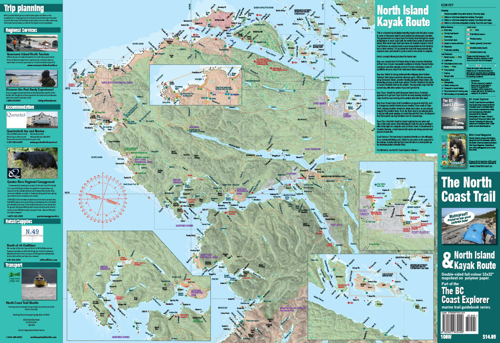 North Coast Trail Map including Cape Scott Marine Trail (Waterproof)
