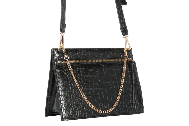 Crossbody with Chain and Strap – Black Croc
