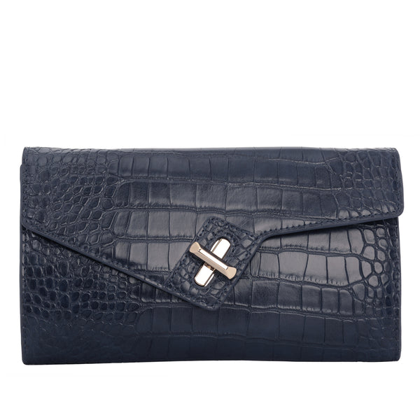 MILCK Clutch – Navy Croc Effect