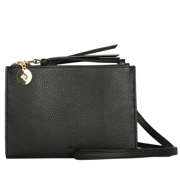 Wallet Crossbody – Black Pebble
