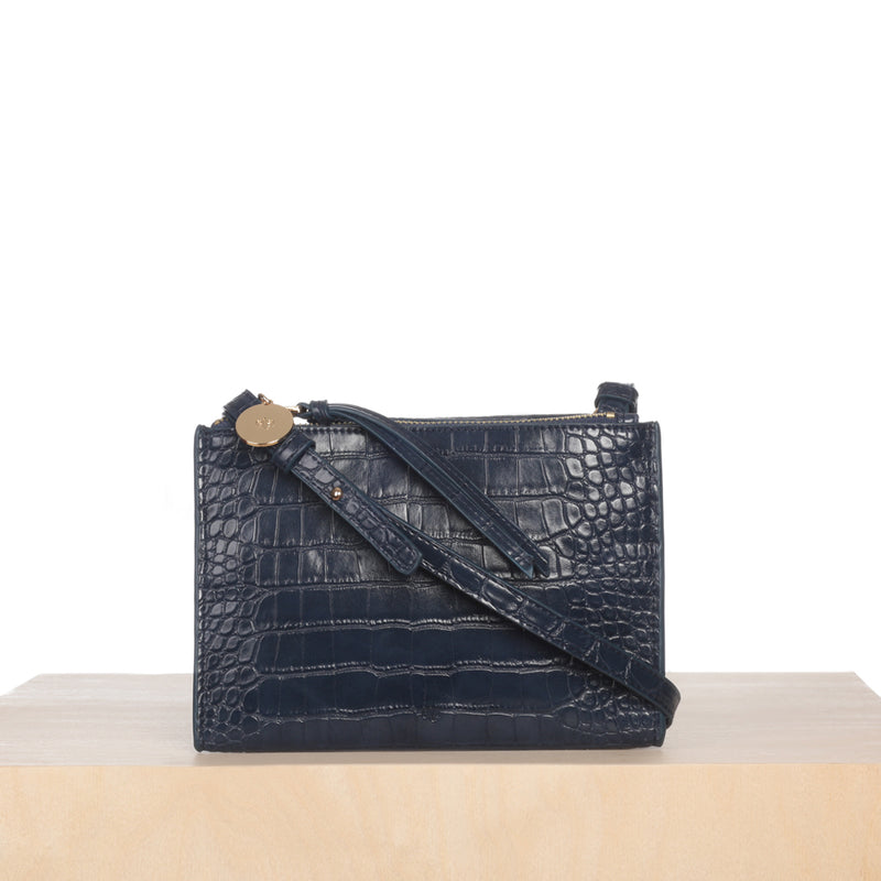 Wallet Crossbody – Navy Croc Effect