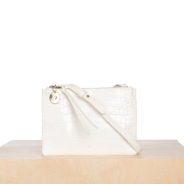Wallet Crossbody – White Croc Effect