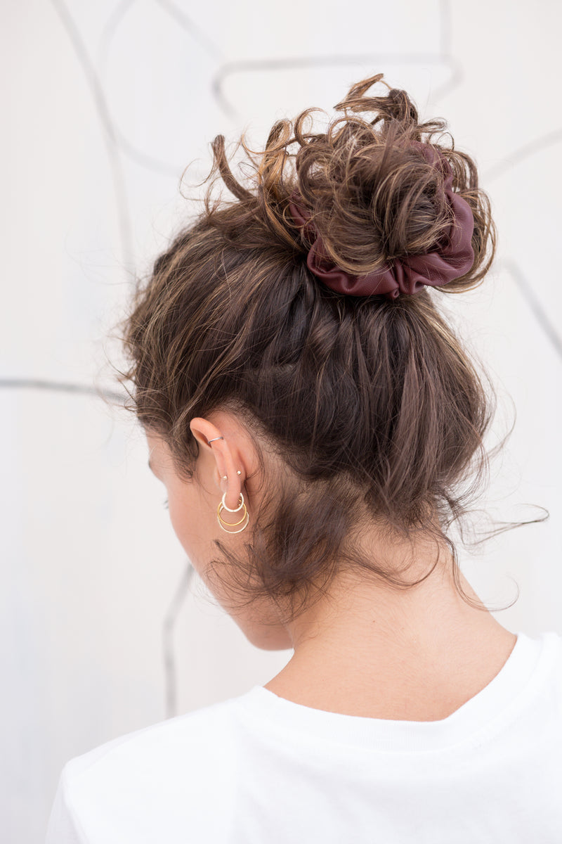 Vegan Leather Scrunchie - Burgundy