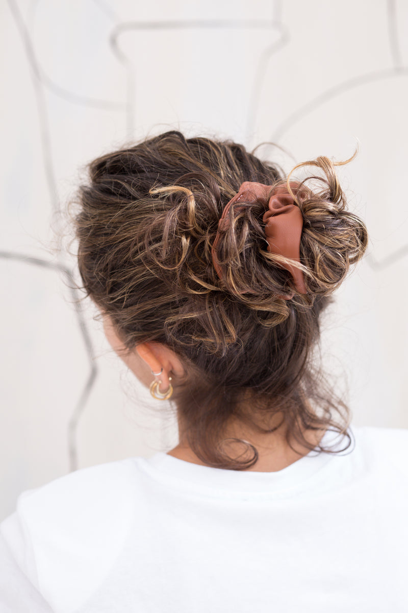 Vegan Leather Scrunchie - Caramel