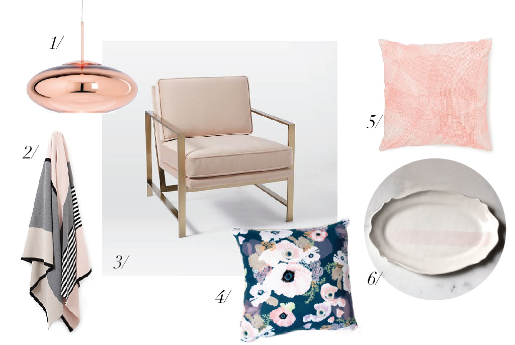 blush pink home accessories