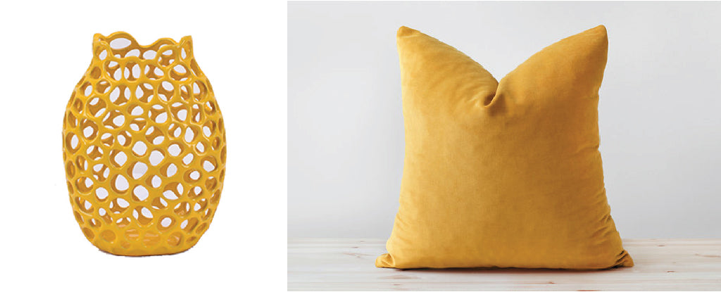 marigold velvet pillow