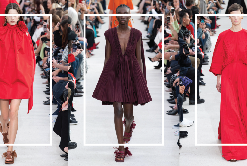 So many reddish wine hues at Valentino RTW SS19