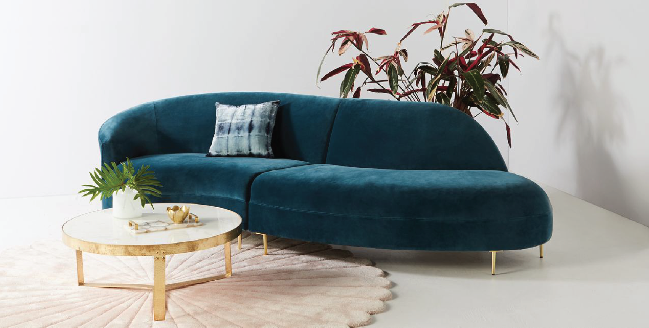 anthropologie, living room inspiration, curved sectional