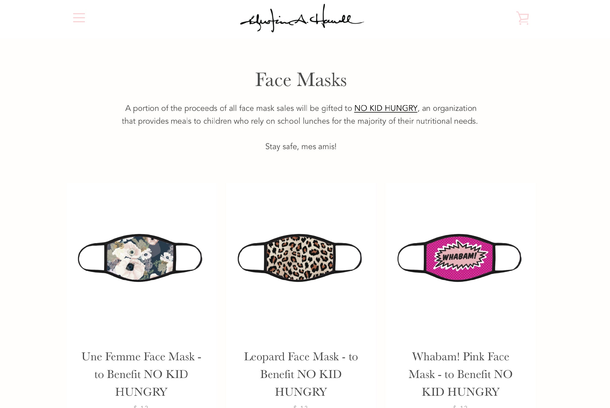 Shop Khristian A. Howell Face Masks to benefit NO KID HUNGRY