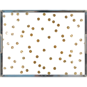 Gold Dots on White Acrylic Tray | Khristian A. Howell decorative tray for living room, unique art acrylic tray, serving tray with art insert