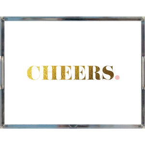 Cheers Acrylic Tray | Khristian A. Howell decorative tray for living room, unique art acrylic tray, serving tray with art insert