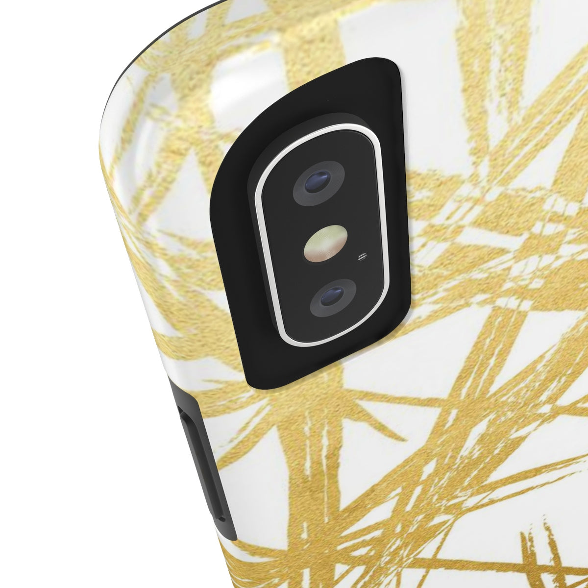 Gold Strokes White Added Amour Phone Case