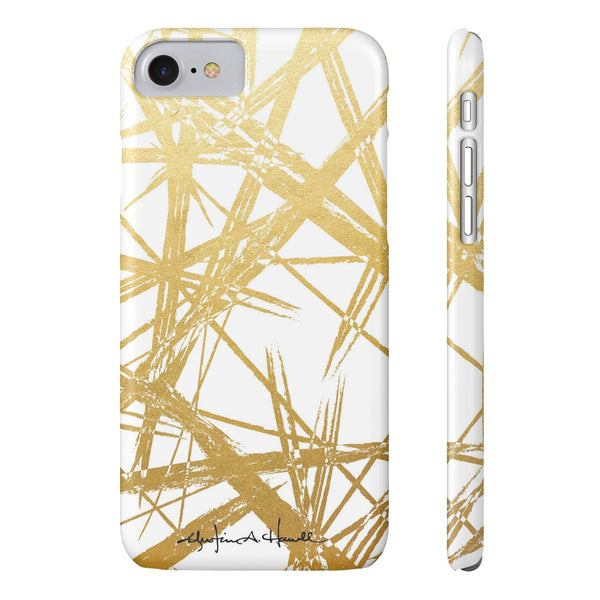 Gold Strokes White Phone Case