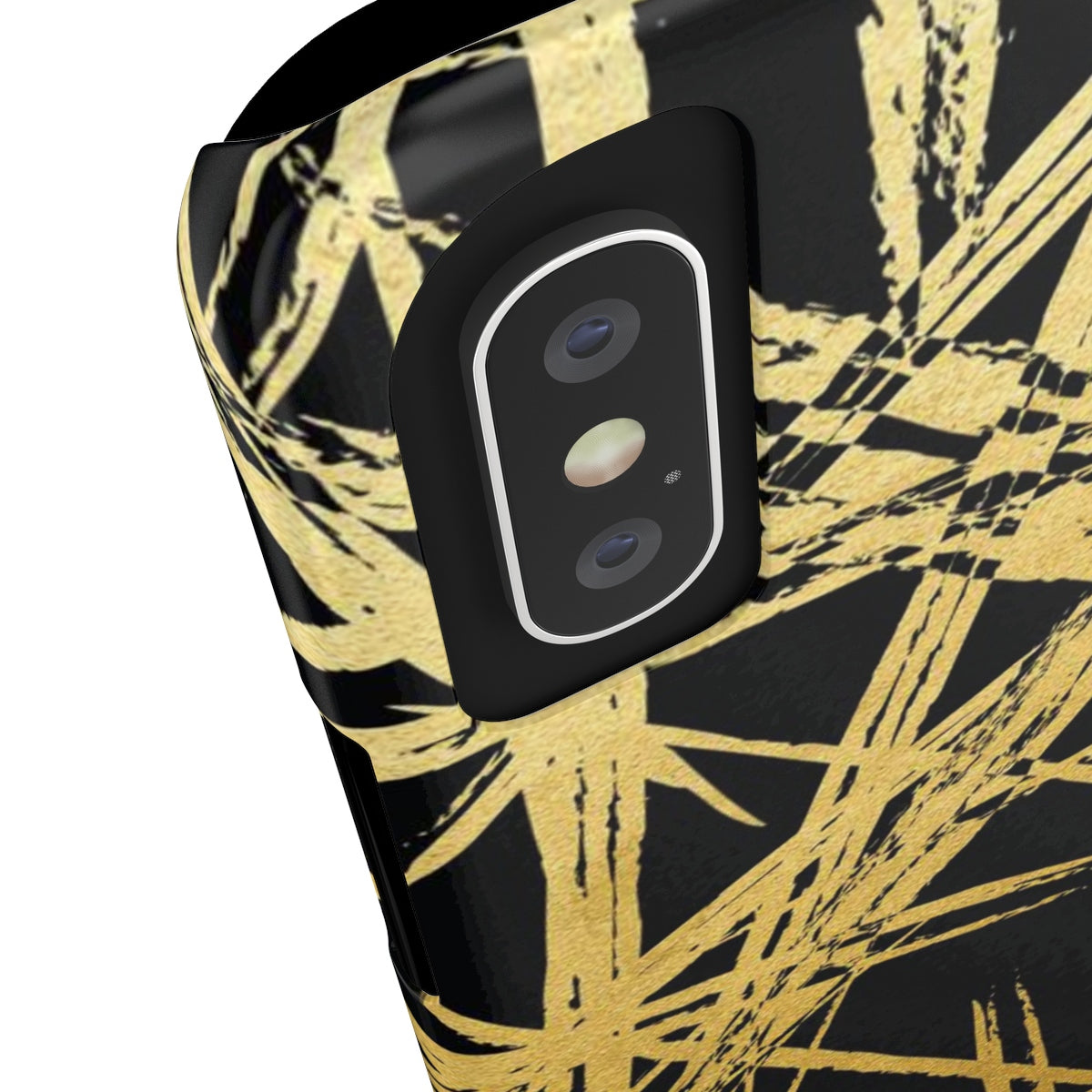 Gold Strokes Black Sleek and Chic Phone Case