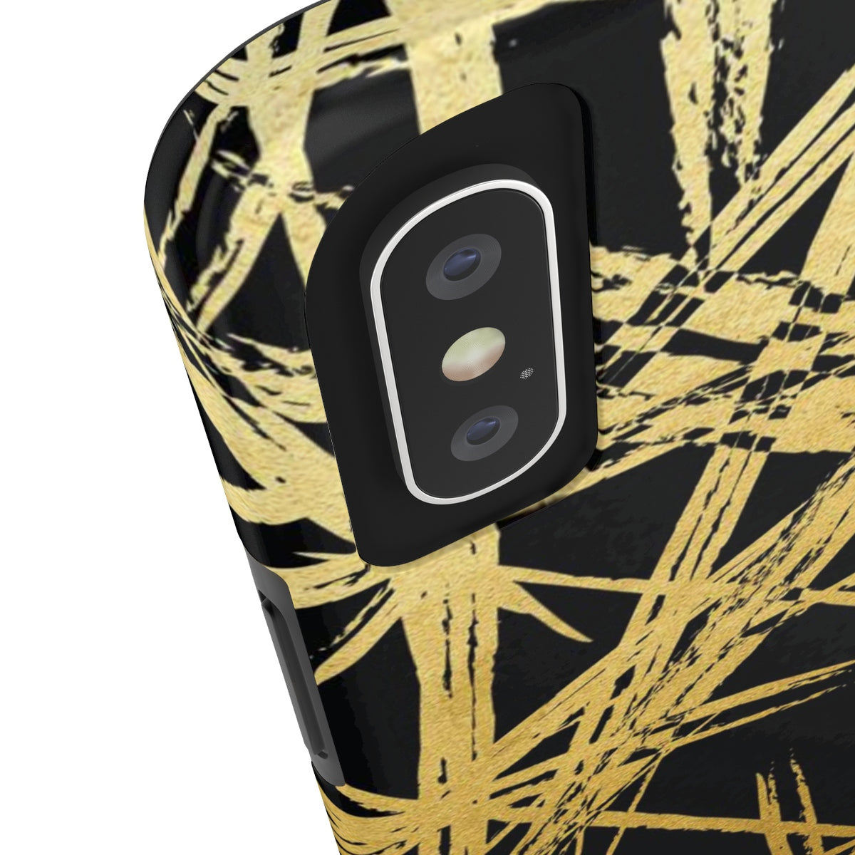 Gold Strokes Black Added Amour Phone Case