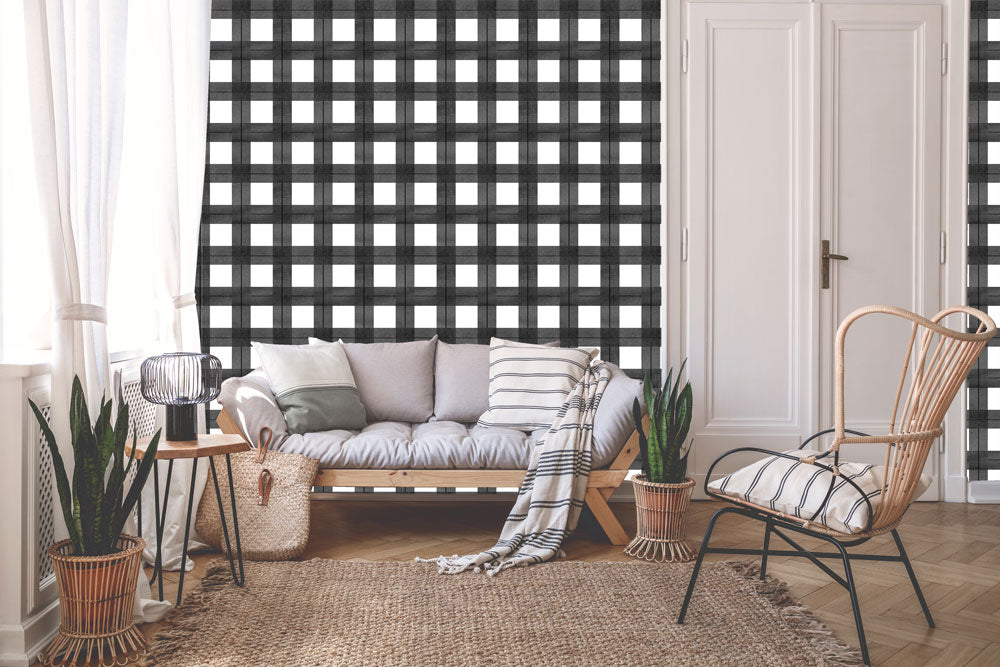 Buffalo Plaid Wallpaper | Khristian A. Howell boho bedroom decor, vintage modern style wallpaper, modern home decor online, cute pattern wallpaper