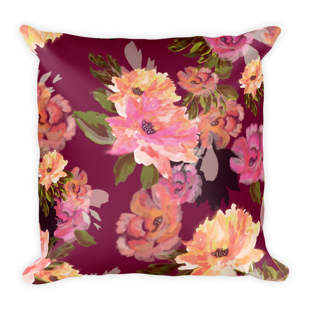 Analucia Merlot Throw Pillow (with or without insert)
