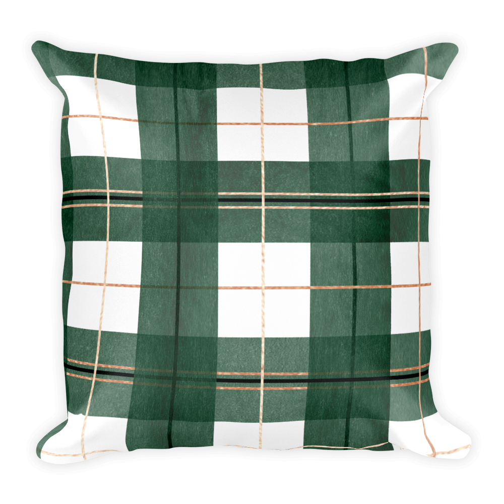 Green Buffalo Plaid Throw Pillow (with or without insert)