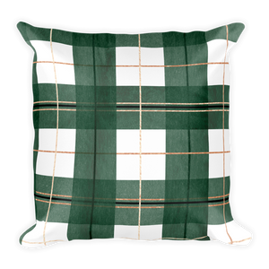Green Buffalo Plaid Throw Pillow (with or without insert) | Khristian A. Howell living room chic throw pillow, boho chic home decor, modern boho decor, throw pillows for contemporary decor