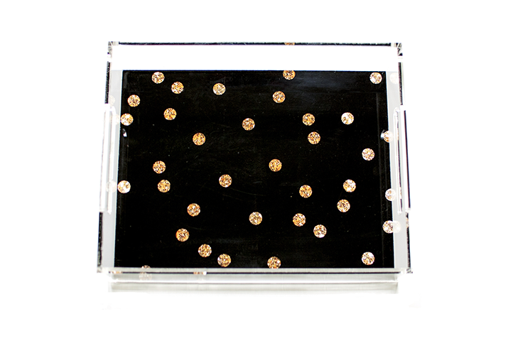Gold Dots on Black Acrylic Tray | Khristian A. Howell decorative tray for living room, unique art acrylic tray, serving tray with art insert